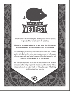 Twin Cities Veg Fest 2013 program front page