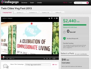 Indiegogo campaign for Twin Cities Veg Fest 2013